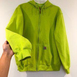 Carhartt Lime Green Full Zip Hoodie Sweatshirt L